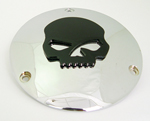 Chrome Derby Cover With Black Skull 3 Holes