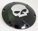 Black Deby Cover With Chrome Skull For Sportsters 2004-up
