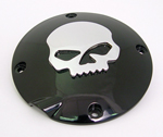 Black Derby Cover With Chrome Skull For Sportsters 94-03