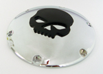 Chrome Derby Cover With Black Skull for Sportster 04-up