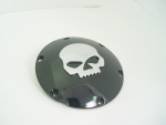 Black Domed Derby Cover With Chrome Skull 5 Holes